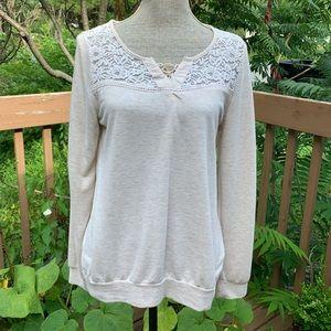 Ardene Cream Shirt with Lace/ Size Large